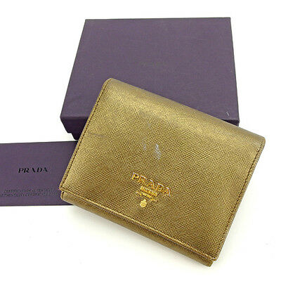 23c412c8f795 Prada Wallet Purse Trifold Logo Bronze Gold Woman Authentic Used Y6376
