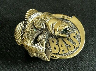 Large Mouth Bass Brass Toned Fish Vintage Belt Buckle 1981 Great American Buckle