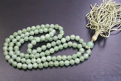 19th Chinese Antique Green  Jade Prayer Beads  / NECKLACE/ANTIQUE