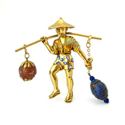 Vtg 1940s RICE WEINER Water Carrier Brooch, Signed Asian Enamel Bead Figural Pin