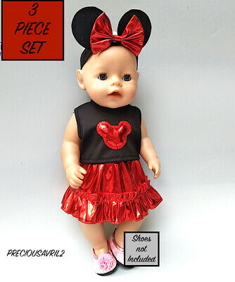 Baby born doll clothes fits 43 cm American Girl 3 piece set Mickey Mouse outfit