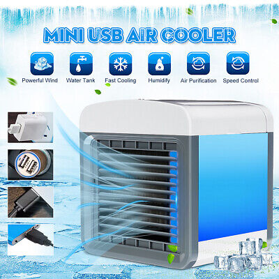 Mini Portable 3-Speed Air Conditioner Cooling Cooler USB Fan LED Humidifier