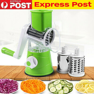 Round Mandoline Slicer Manual Vegetable Cutter Grater Kitchen Tool 3 Blade AU