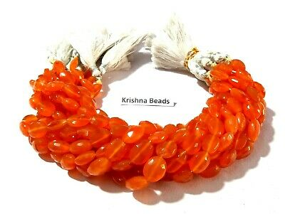 """85Cts Natural Carnelian Oval Faceted 9x11-9x12mm Gemstone Beads 9""""Inch 1 Strand"""
