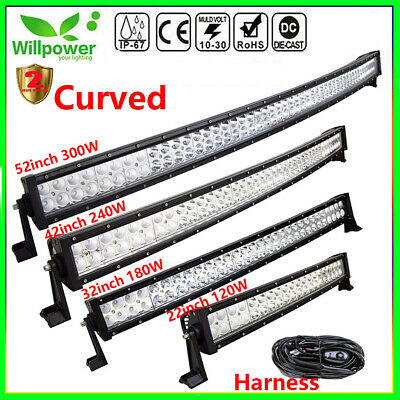 Curved 22/32/42/52 inch Led Work Light Bar for Off road Truck Car SUV Jeep 4WD
