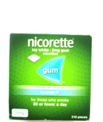 NICORETTE ICY WHITE 210 2mg Chewing Gum Expiry Date 11/2020