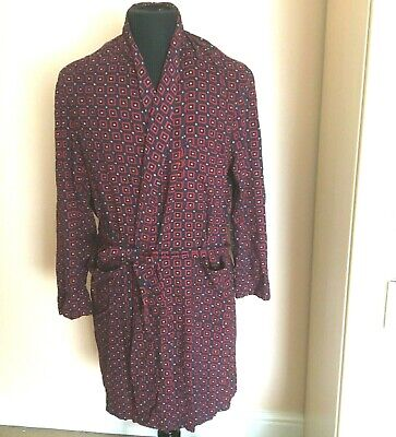 Vintage Tootal Mens Dressing Gown Robe Red  Blue Size M Smoking Jacket Housecoat