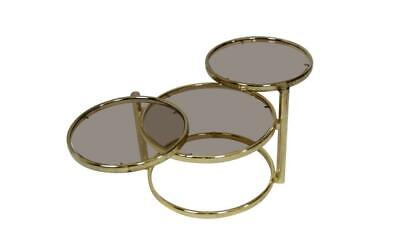 Midcentury Brass Plated 3-Tier Swivel Coffee Table style of Milo Baughman