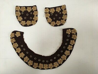 1930's Art Deco Beaded Dress Collar and pockets on crepe ground