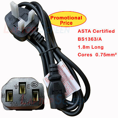 IEC Kettle Lead Power Cable 3 Pin UK Plug PC Monitor TV PS3 CPU 1.8 meter long