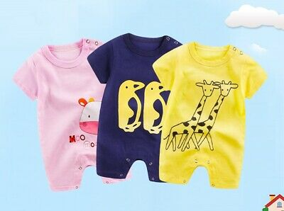 Short Sleeve Unisex Baby Rompers Cotton Infants Girls Boys Overall Jumpsuits