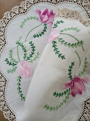 PINK & MAUVE TULIPS Vintage HEAVILY HAND EMBROIDERED CENTRE PIECE DOILY