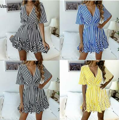 Women Casual Short Sleeve V-neck Striped Pullover High Waist Lace Out U8HE