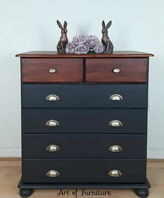 Vintage Solid Pine Chest of drawers hand painted in Ash Mineral Paint Upcycled