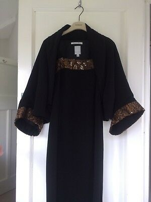 Ladies Luis Civit Black Brown Mother of the Bride/Occasion/Races Dress Jacket-10