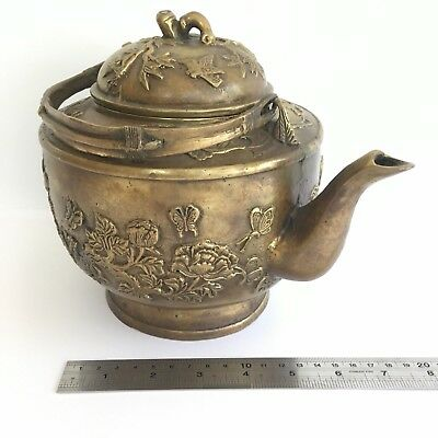 Large Old Chinese Brass Teapot Kettle, Vintage Antique Marked Handwork