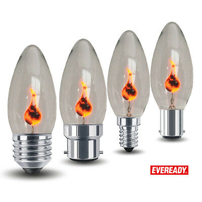 4x Eveready 3W Vacillant Flamme Bougie Ampoule Halloween Lampes E14 E27 B22 B15