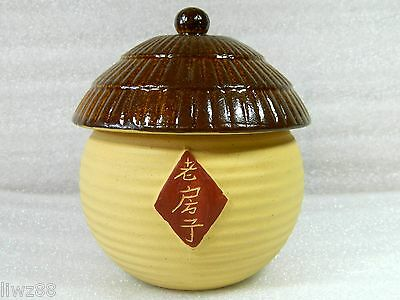 Chinese Yixing Zisha Pottery Tea Caddy Canister,Thatched Cottage Shape,350 CC