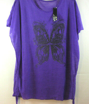 6623e7ff Womens Blouse Large purple open side sheer butterfly black sparkle NWT Top L