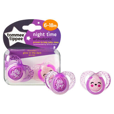 Tommee Tippee Closer to Nature Night Time Soother 6-18m 2Pk Girls