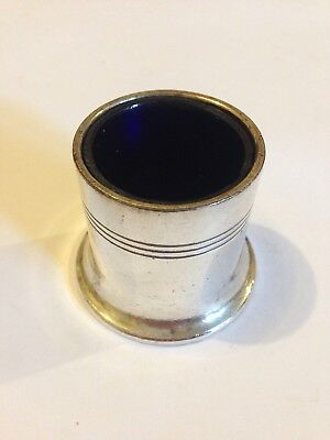 Antique Walker & Hall Condiment Pot Bristol Blue Glass Silver Plate