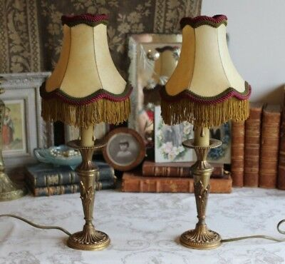 A Pair Vintage French Empire Style Bronze Bedside Side Table Lamps with Shades
