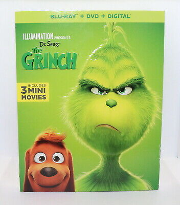 Illumination Presents Dr. Seuss' The Grinch Blu-Ray + DVD Movie No Digital