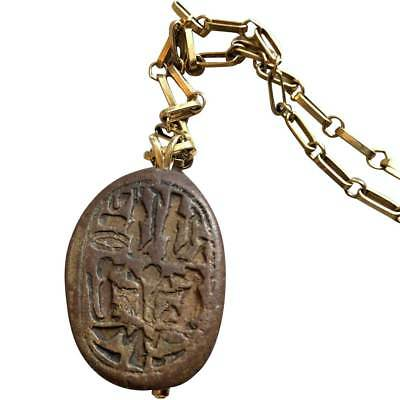Ancient Egyptian Scarab Seal 14k Gold Pendant Necklace ex. Denver Art Museum