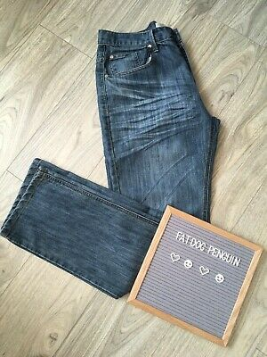 7b0c3785 Mens LEE COOPER Blue Denim Distressed Jeans Size 34R Straight 34 X 32