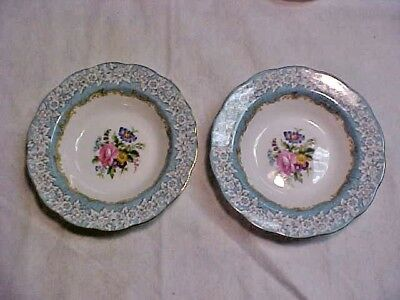 2 ROYAL ALBERT Enchantment Rimmed Soup Bowls Made in England Bone China Teal