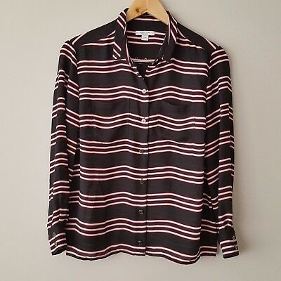 Nautica Small Black Red Striped Sheer Button Down Career Nautical Blouse