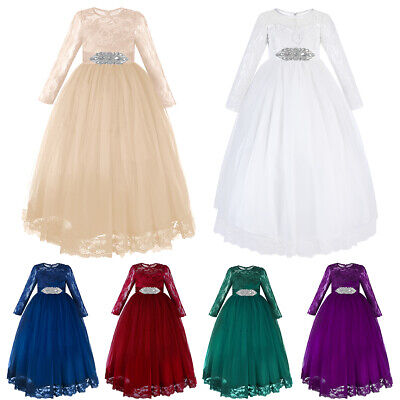 Flower Girls Dress for Wedding Evening Long Lace Communion Pageant Party Gown