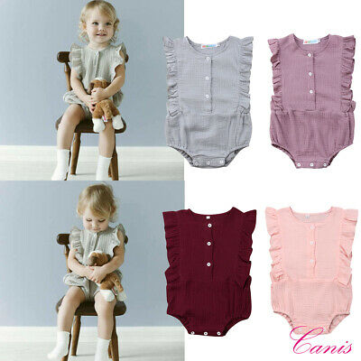 AU Canis Toddler Baby Girl Romper Ruffled Solid Bodysuit Jumpsuit Outfits Summer