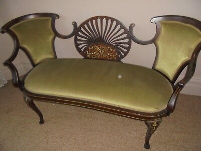 Antique inlaid love seat for 2.
