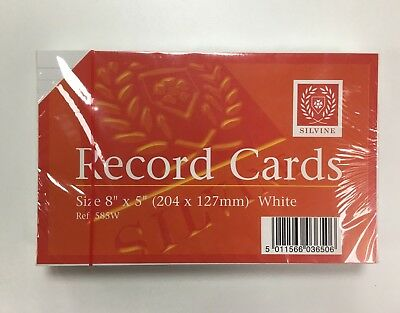 "Silvine Record Cards Revision/Flash/Index/White/Ruled 8""x5"" (204x127mm) 585W"