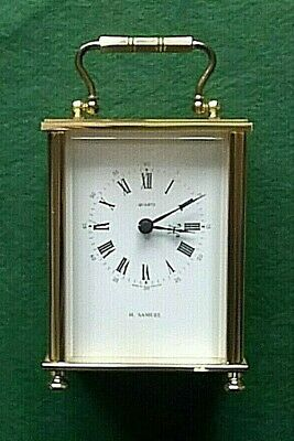Vintage Brass Quartz Movement Carriage Clock by Weiss Clocks for H.Samuel