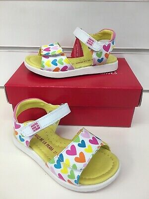 Agatha Ruiz De La Prada Girls Leather Sandals with Heart Print (192937)