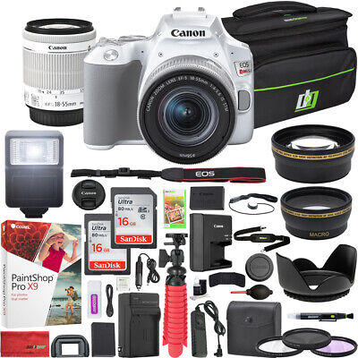 Canon EOS Rebel SL3 DSLR Camera 18-55mm f3.5-5.6 IS II Lens White 16GB x2 Bundle