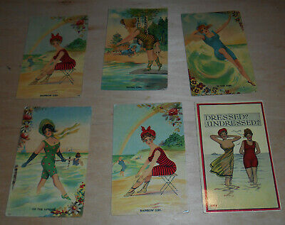 Old Antique Colored  Postcards Pretty Bathing Beauties Swim Suits Surf Girl Nude