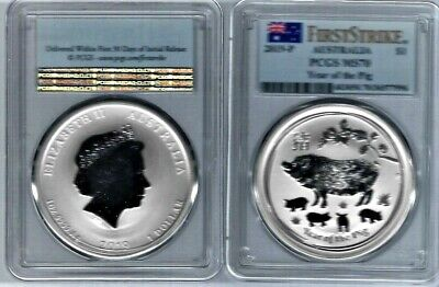 2019-P 1 Oz Australia Year Of The Pig Gaded By Pcgs Ms-70 First Strike Flag Case