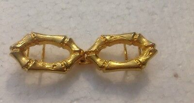 Vintage Dotty Smith Gold Tone Bamboo Design Belt Buckle L@@K