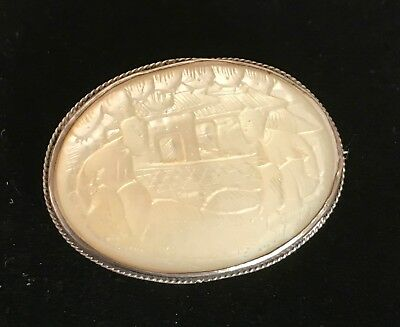 Vintage Chinese Silver & Carved Mother of Pearl Oriental Chinese Brooch