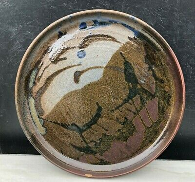 Studio Hand Thrown Pottery Flat Bowl Centerpiece Platter signed Brown abstract