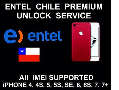 Entel Chile Premium Unlock Service, fits iPhone 4, 5, SE, 6, 6S, 6S+, 7, 7+