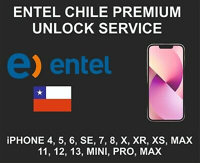 Entel Chile Premium Unlock Service, fits iPhone 5, 6, 7, 8, X XR XS 11, Pro, Max