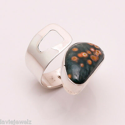 925 Sterling Silver Adjustable Ring Sz US 7.5, Natural Gemstone Jewelry CR130
