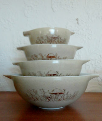 Pyrex Mushrooms FOREST FANCIES Cinderella Handle Mixing Nesting Bowls Complete