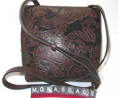 Patricia Nash Granada Tooled Lace Leather Brown Paisley Crossbody Bag NWT $149