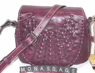 Patricia Nash Oil Rubbed Puccini Crossbody Bag Burgundy Wine Leather NWT $189