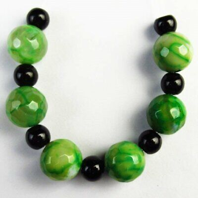 6Pcs/Set 10mm Faceted Green Dragon Veins Agate Round Ball Pendant Bead A75506